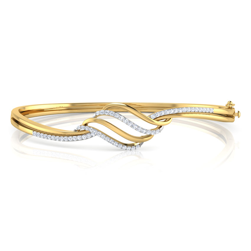 Diamond Bracelets 18 Karat Yellow Gold Lorra Curved Diamond Bracelet