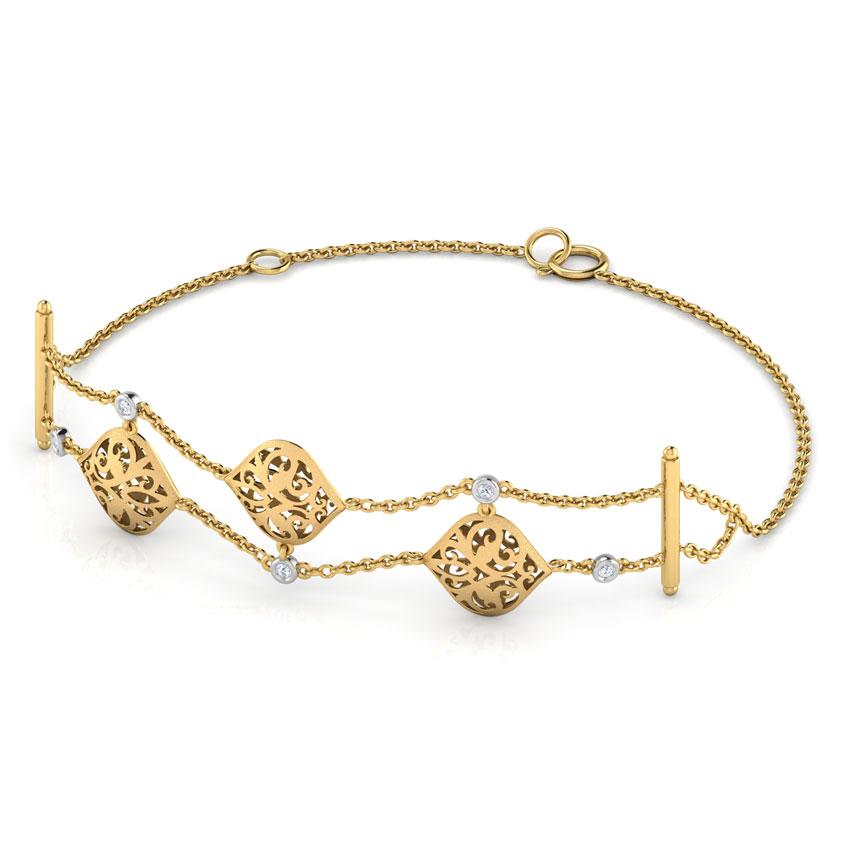 Diamond Bracelets 18 Karat Two Tone Gold Elizabeth Charm Bracelet