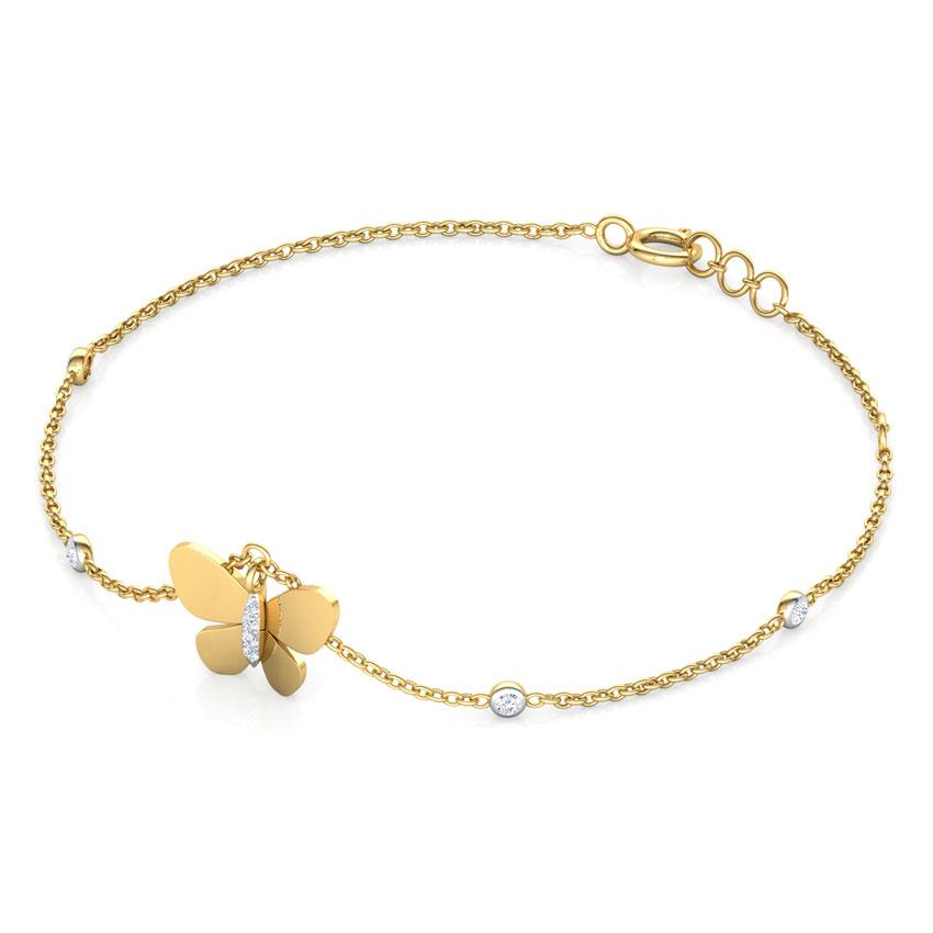 Diamond Bracelets 14 Karat Yellow Gold Elsa Diamond Butterfly Charm Bracelet