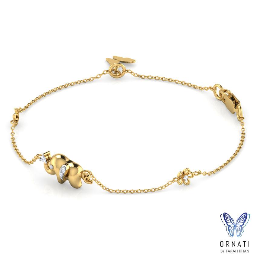 Diamond Bracelets 18 Karat Yellow Gold Alicia Elephant Diamond Bracelet