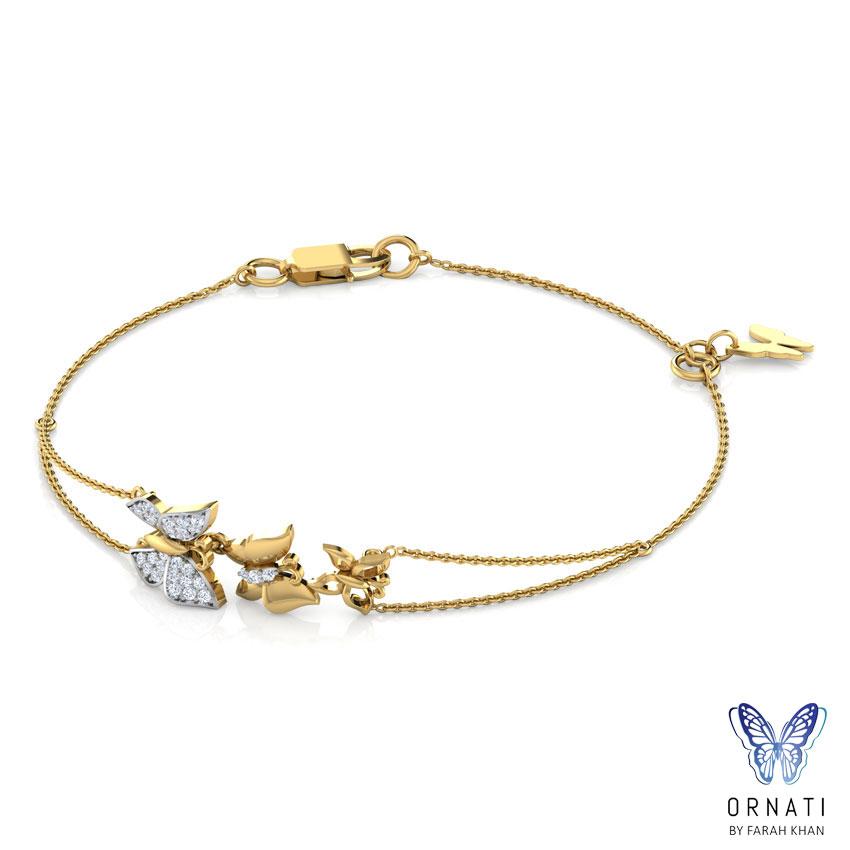 Diamond Bracelets 18 Karat Yellow Gold Butterfly Swarm Diamond Bracelet