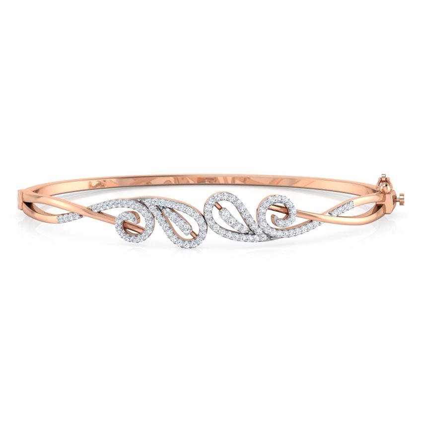 Diamond Bracelets 18 Karat Rose Gold Paisley Scroll Diamond Bracelet