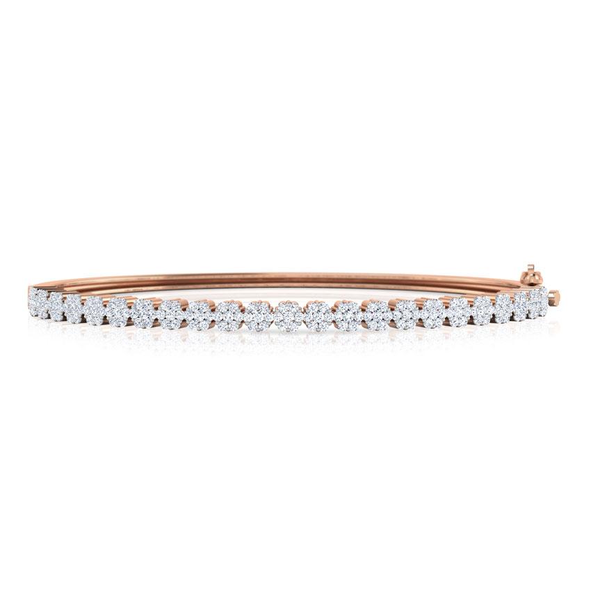 Diamond Bracelets 18 Karat Rose Gold Elegant Cluster Diamond Bracelet