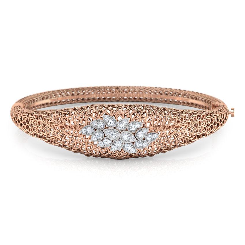 Diamond Bracelets 18 Karat Rose Gold Wild Rhea Leaf Diamond Bracelet