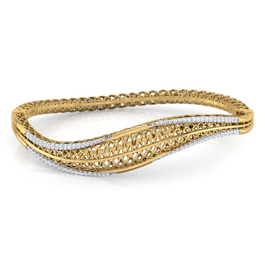 Diamond Bracelets 18 Karat Yellow Gold Alder Leaf Diamond Bracelet