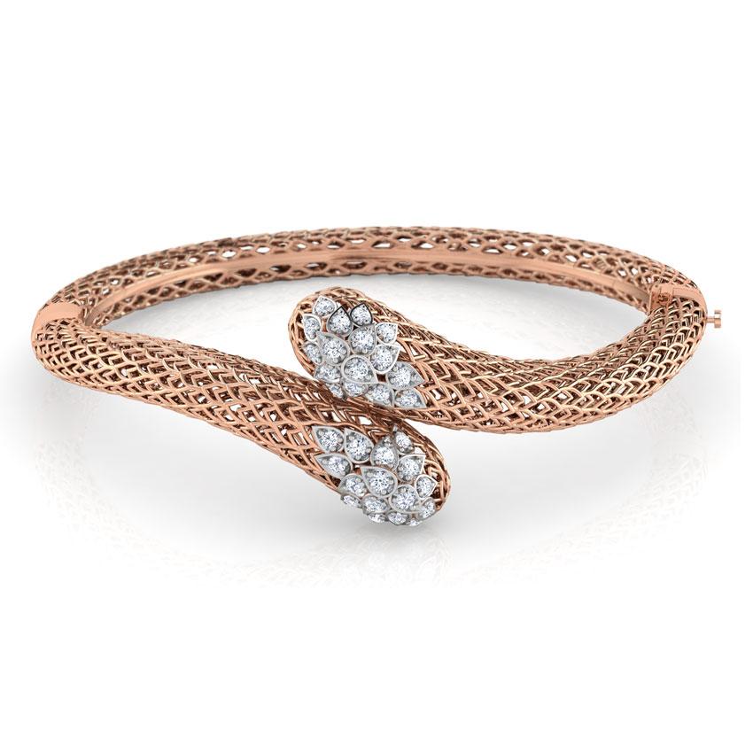 Diamond Bracelets 18 Karat Rose Gold Bhoma Leaf Diamond Bracelet