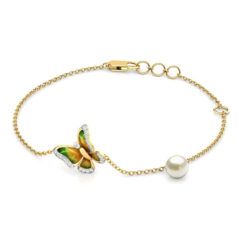 Diamond,Gemstone Bracelets 18 Karat Yellow Gold Soaring Green Delicate Butterfly Bracelet