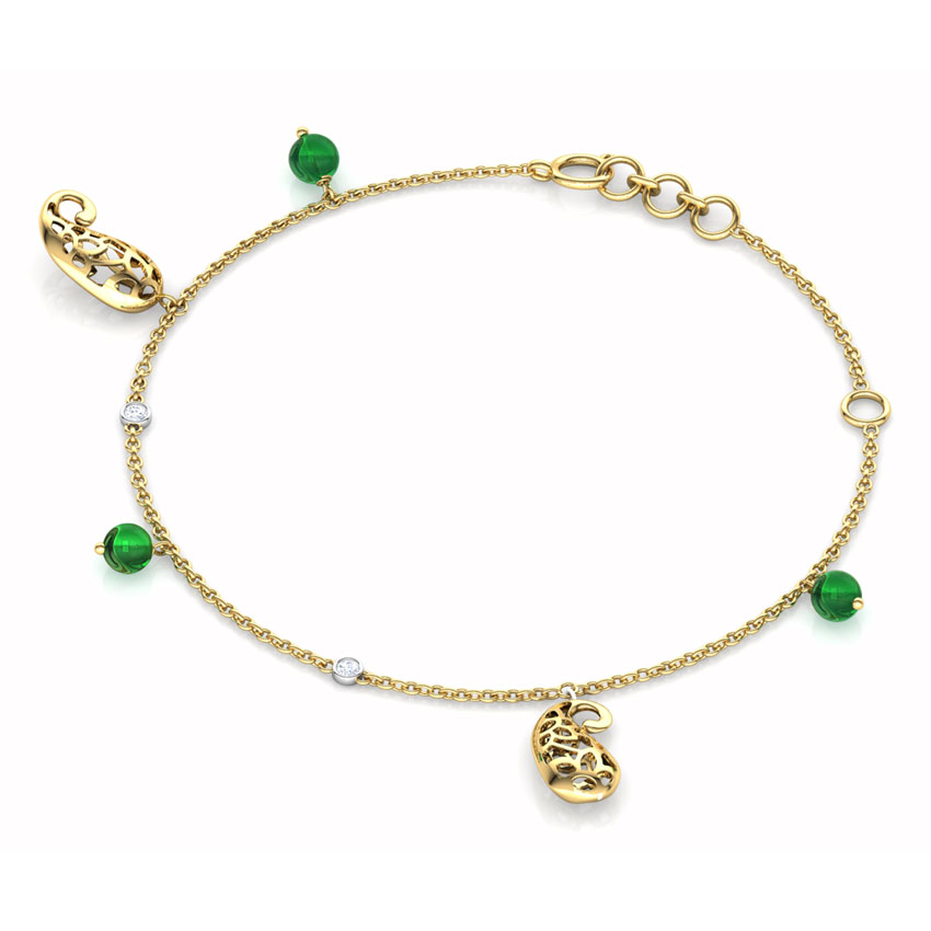 Diamond,Gemstone Bracelets 18 Karat Yellow Gold Majestic Paisley Bracelet