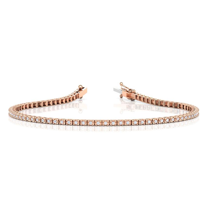 Diamond Bracelets 14 Karat Rose Gold Sleek Diamond Tennis Bracelet