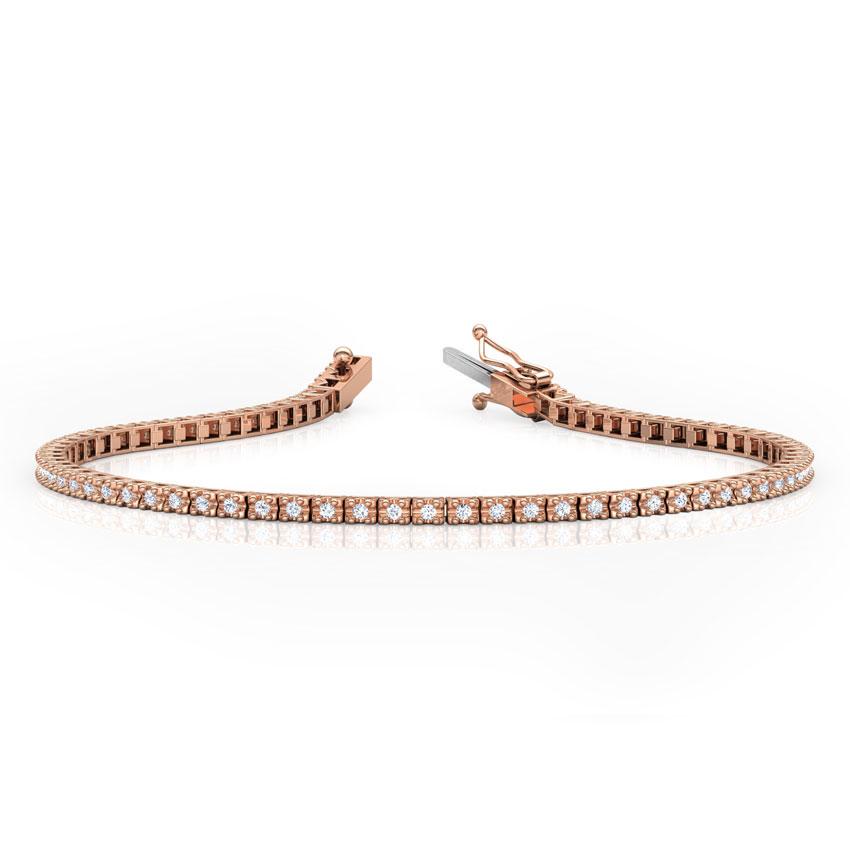 Diamond Bracelets 18 Karat Rose Gold Radiant Tennis Diamond Bracelet