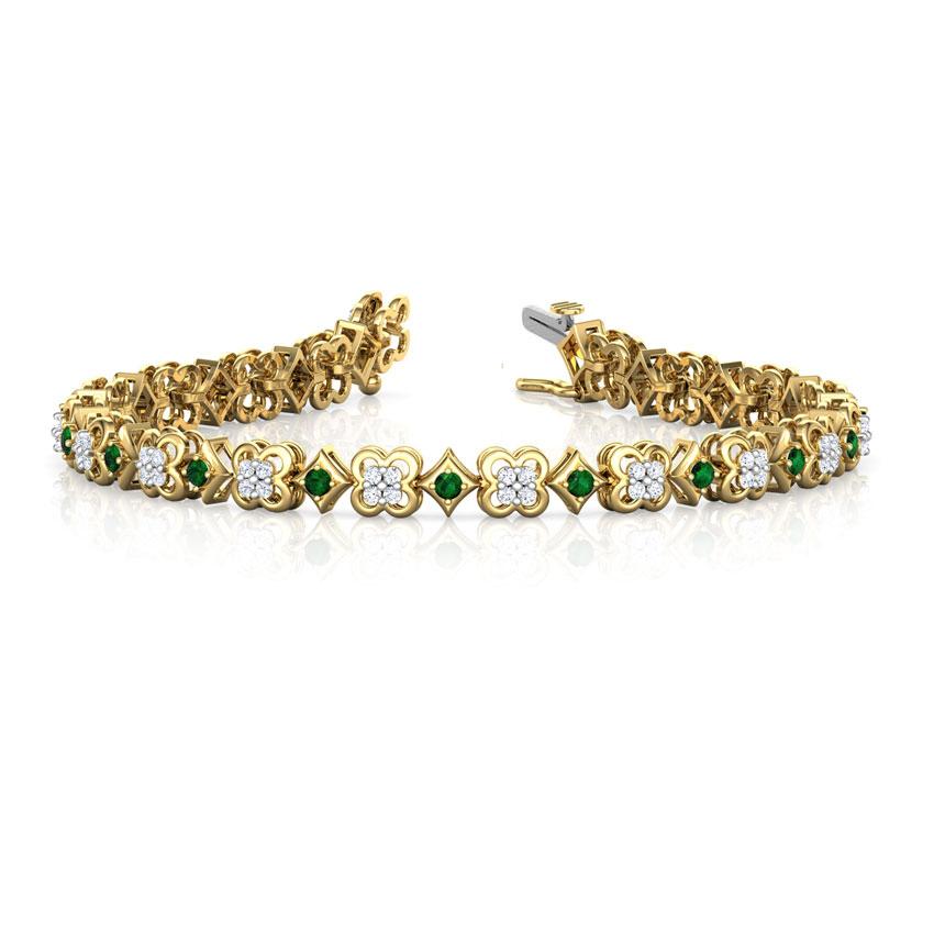 Diamond,Gemstone Bracelets 18 Karat Yellow Gold Radiant Floret Diamond Tennis Bracelet