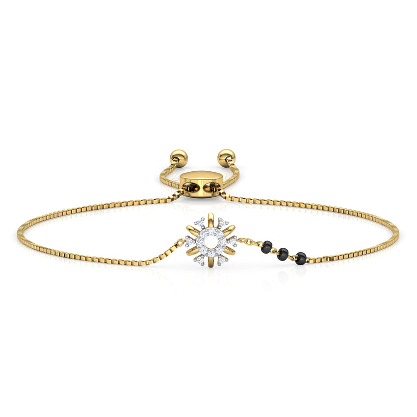 Diamond Bracelets 14 Karat Yellow Gold Aashi Diamond Mangalsutra Bracelet