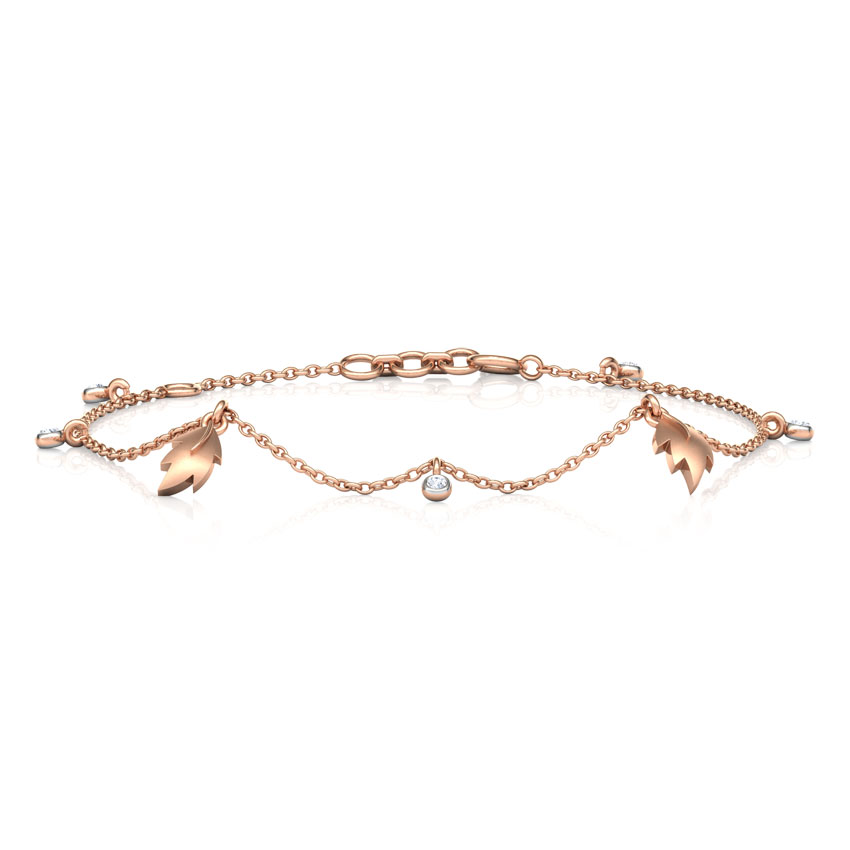 Diamond Bracelets 14 Karat Rose Gold Leaves Charm Diamond Bracelet