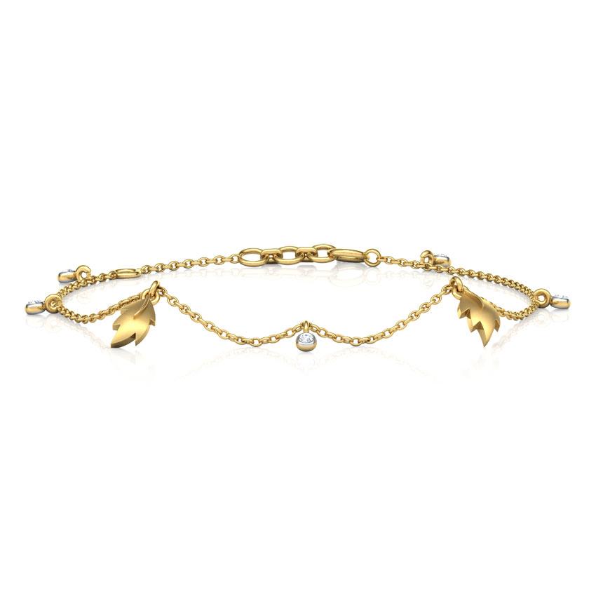 Diamond Bracelets 14 Karat Yellow Gold Leaves Charm Diamond Bracelet