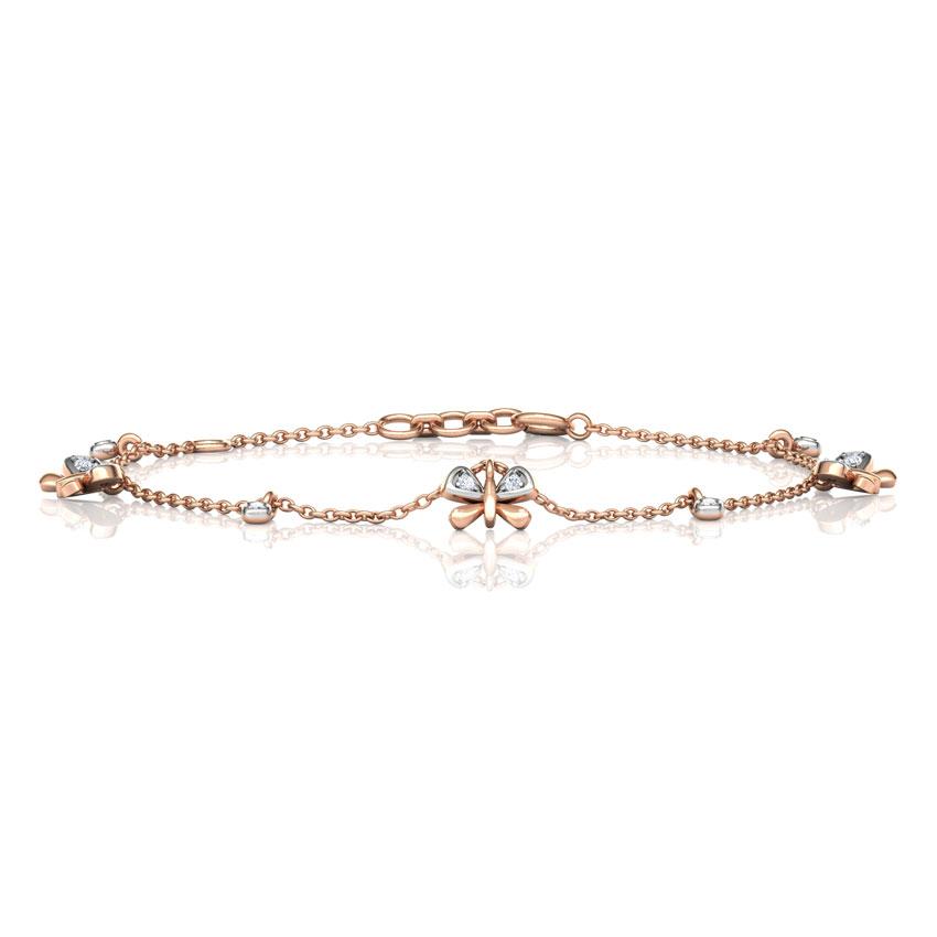 Diamond Bracelets 18 Karat Rose Gold Diamond Butterfly Charm Bracelet