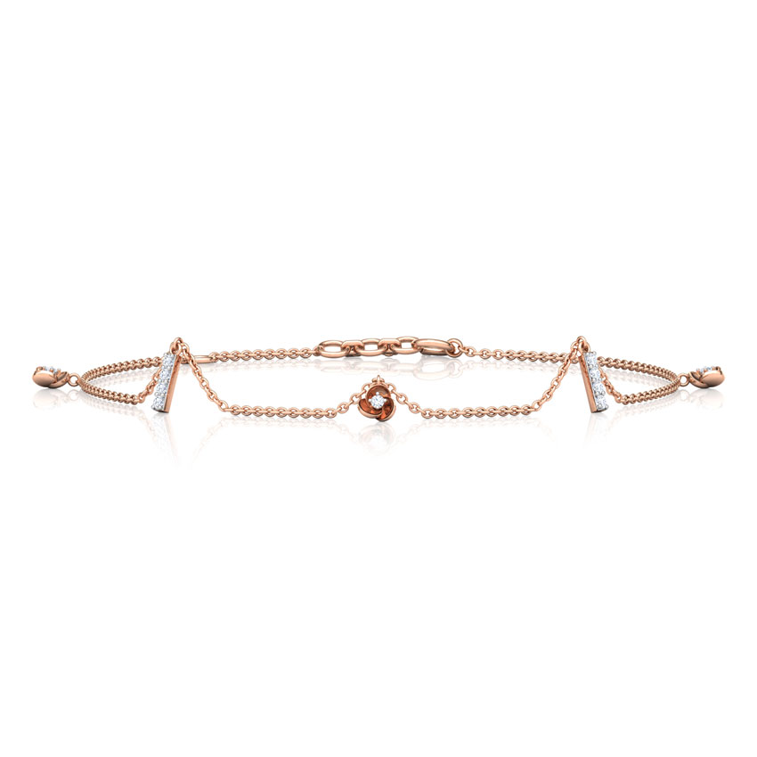 Diamond Bracelets 18 Karat Rose Gold Trillium Charm Diamond Bracelet