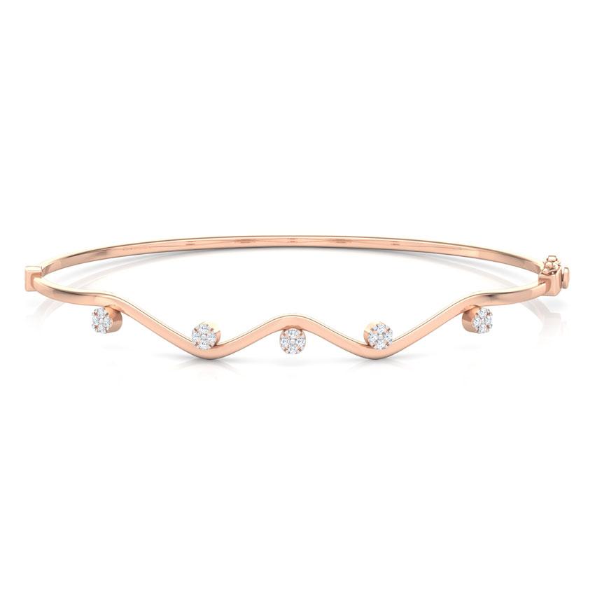 Diamond Bracelets 18 Karat Rose Gold Curvy Cluster Bracelet