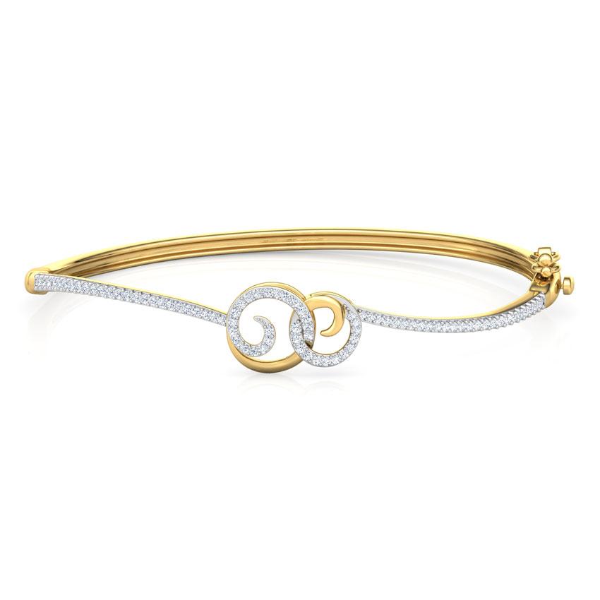 Diamond Bracelets 18 Karat Yellow Gold Sparkling Scroll Diamond Bracelet