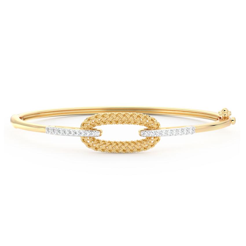 Diamond Bracelets 18 Karat Yellow Gold Edgy Twill Diamond Bracelet