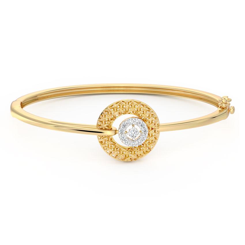 Diamond Bracelets 18 Karat Yellow Gold Ornate Interlaced Diamond Bracelet
