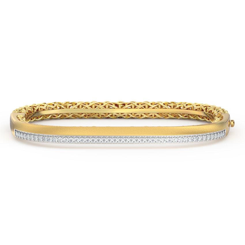 Diamond Bracelets 18 Karat Yellow Gold Modern Interlaced Diamond Bracelet