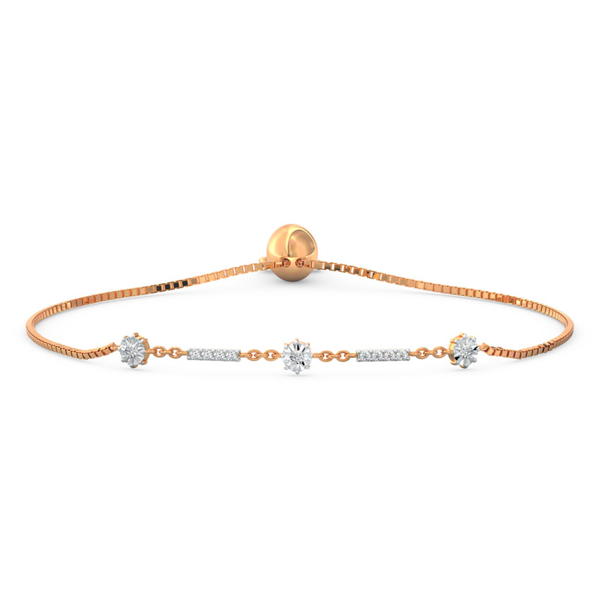 Diamond,Gemstone Bracelets 18 Karat Rose Gold Orb Miracle Plate Diamond Adjustable Bracelet
