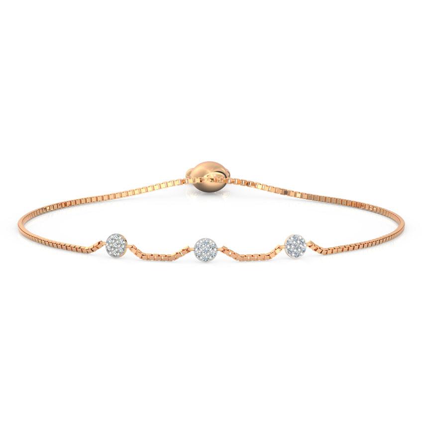 Diamond Bracelets 18 Karat Rose Gold Cluster Adjustable Bracelet