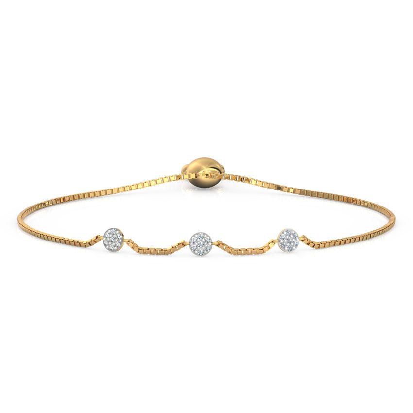 Diamond Bracelets 18 Karat Yellow Gold Cluster Diamond Adjustable Bracelet