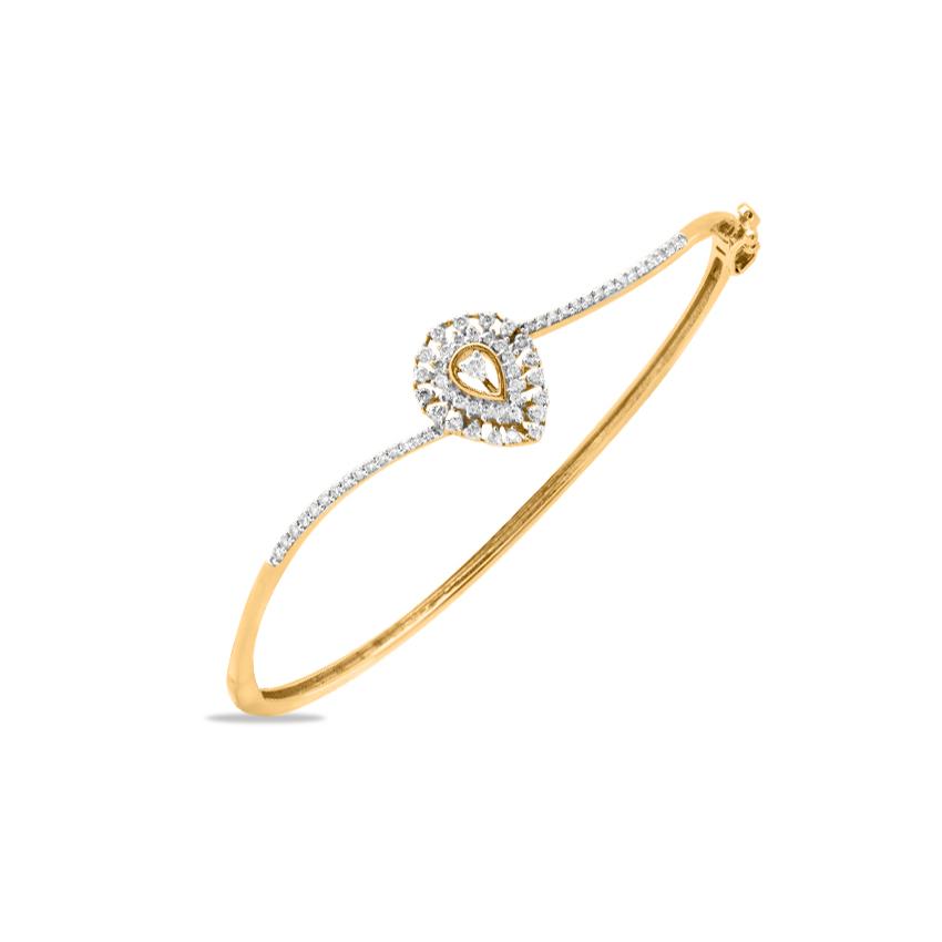Diamond Bracelets 14 Karat Yellow Gold Pretty Drop Diamond Bracelet