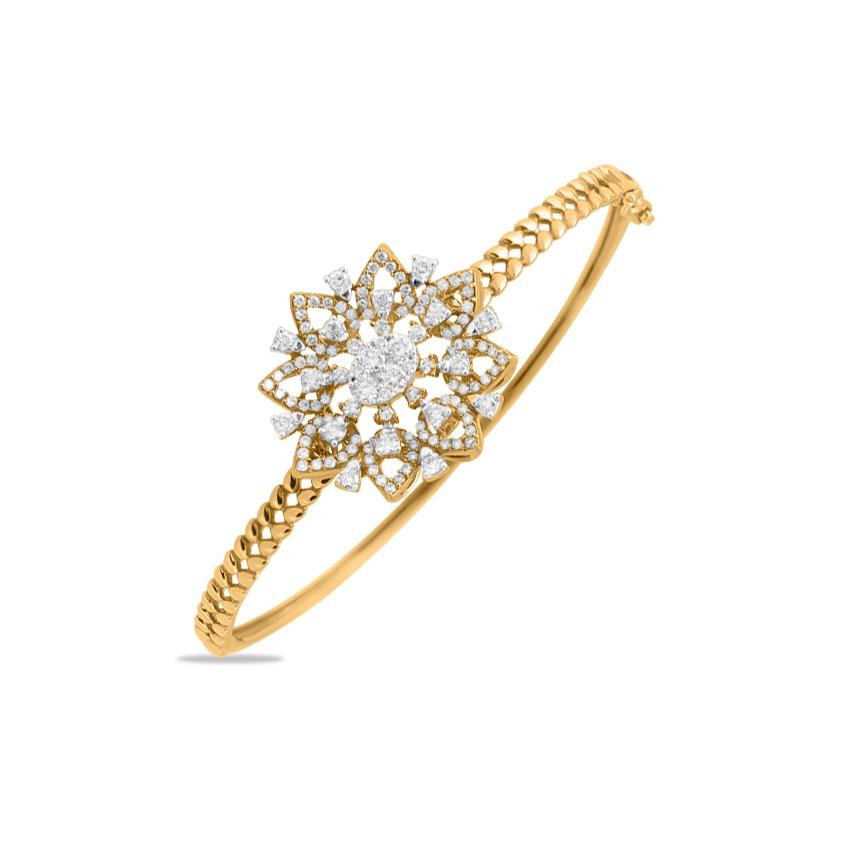 Diamond Bracelets 18 Karat Yellow Gold Artsy Sparkle Diamond Bracelet