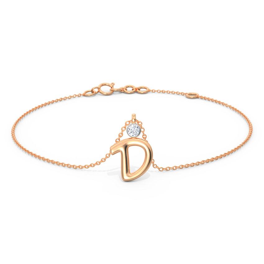 Alphabet D Charm Bracelet
