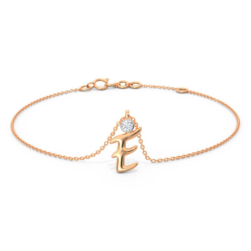 Diamond Bracelets 14 Karat Rose Gold Alphabet E Diamond Charm Bracelet