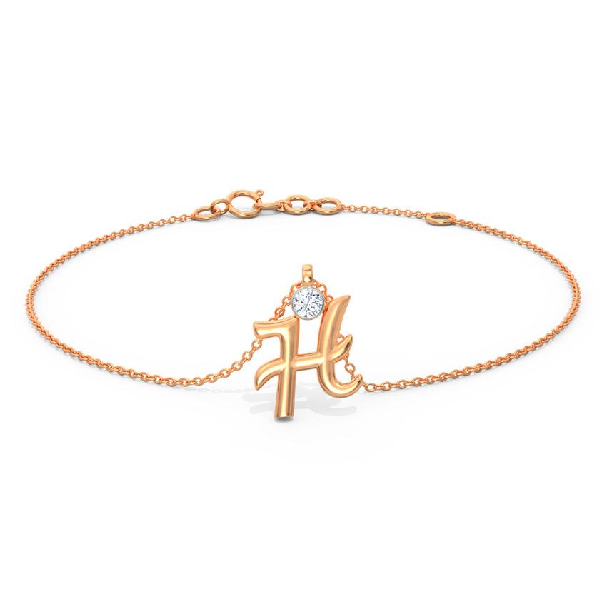 Alphabet H Charm Bracelet