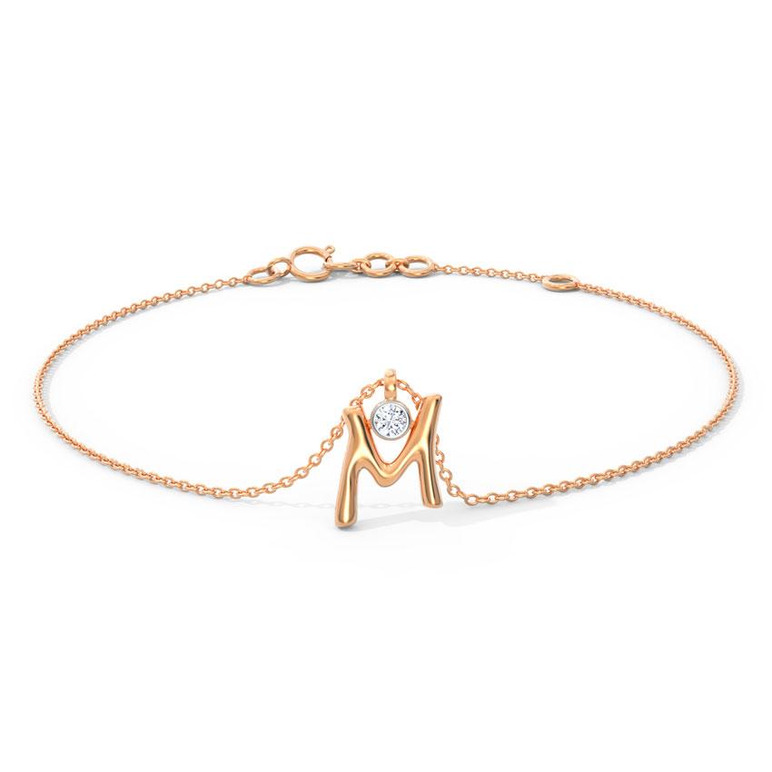 Alphabet M Charm Bracelet