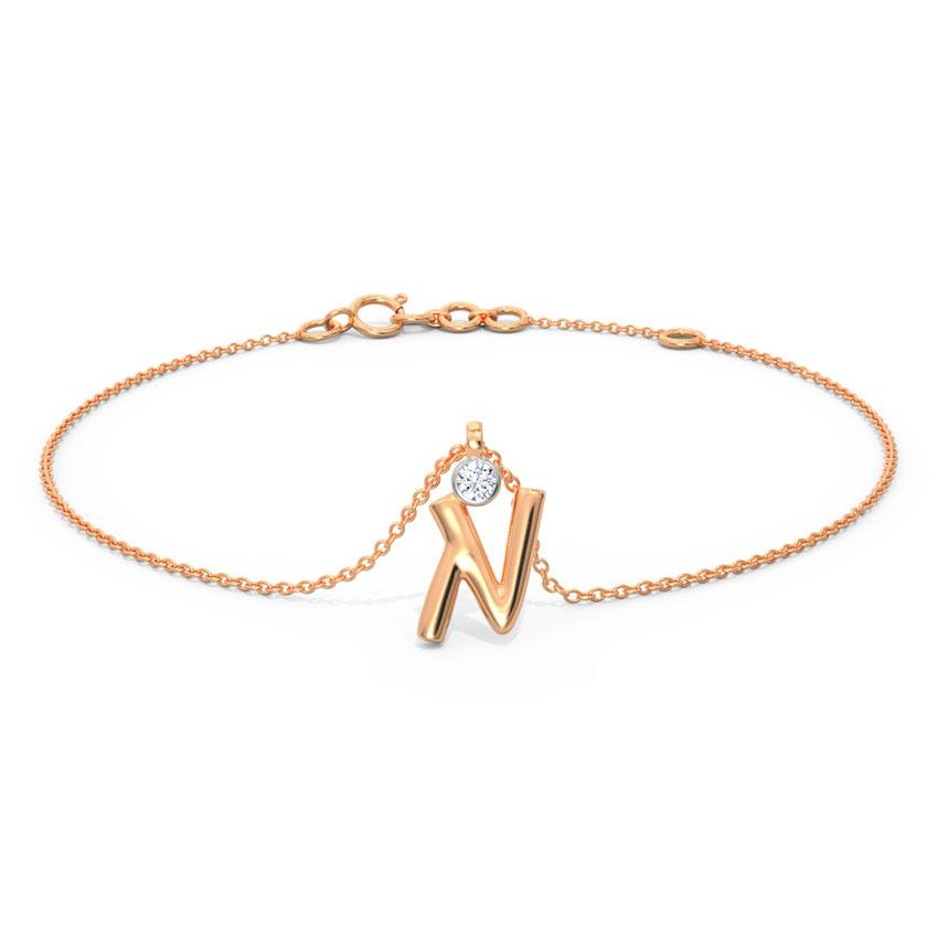 Alphabet N Charm Bracelet
