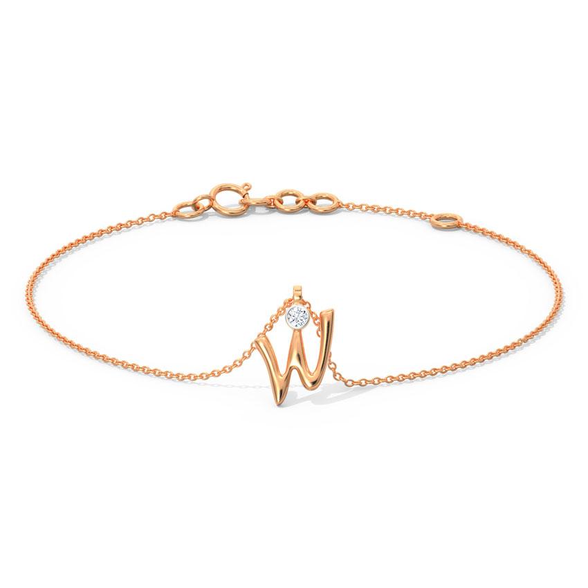 Alphabet W Charm Bracelet