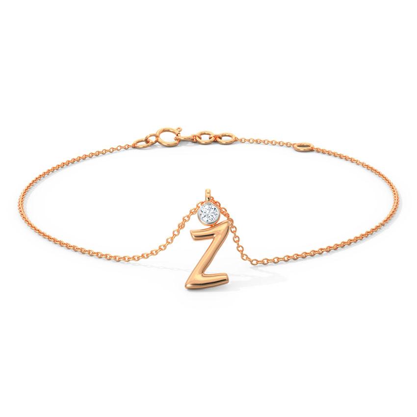 Alphabet Z Charm Bracelet