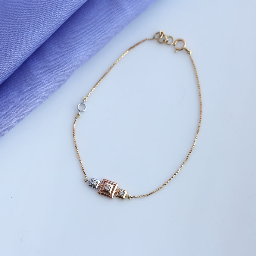 Diamond Bracelets 14 Karat Three Tone Gold Erin Square Diamond Bracelet