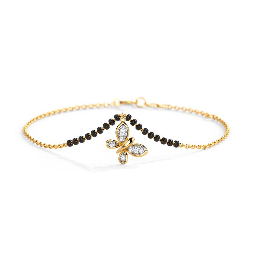 Diamond Bracelets 14 Karat Yellow Gold Aisha Diamond Mangalsutra Bracelet