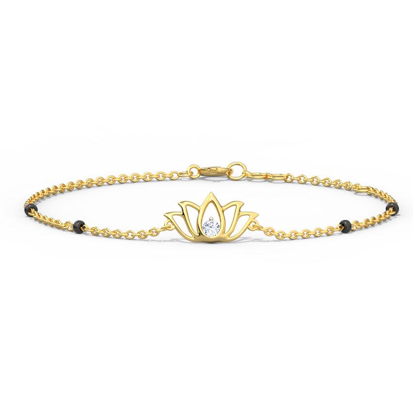 Diamond Bracelets 14 Karat Yellow Gold Ahana Diamond Mangalsutra Bracelet