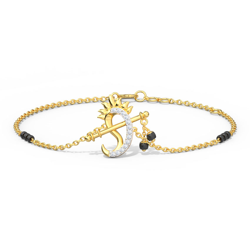 Diamond Bracelets 14 Karat Yellow Gold Falak Diamond Mangalsutra Bracelet