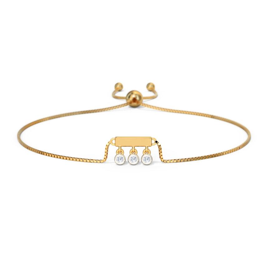 Diamond Bracelets 14 Karat Yellow Gold Sway Diamond Adjustable Bracelet