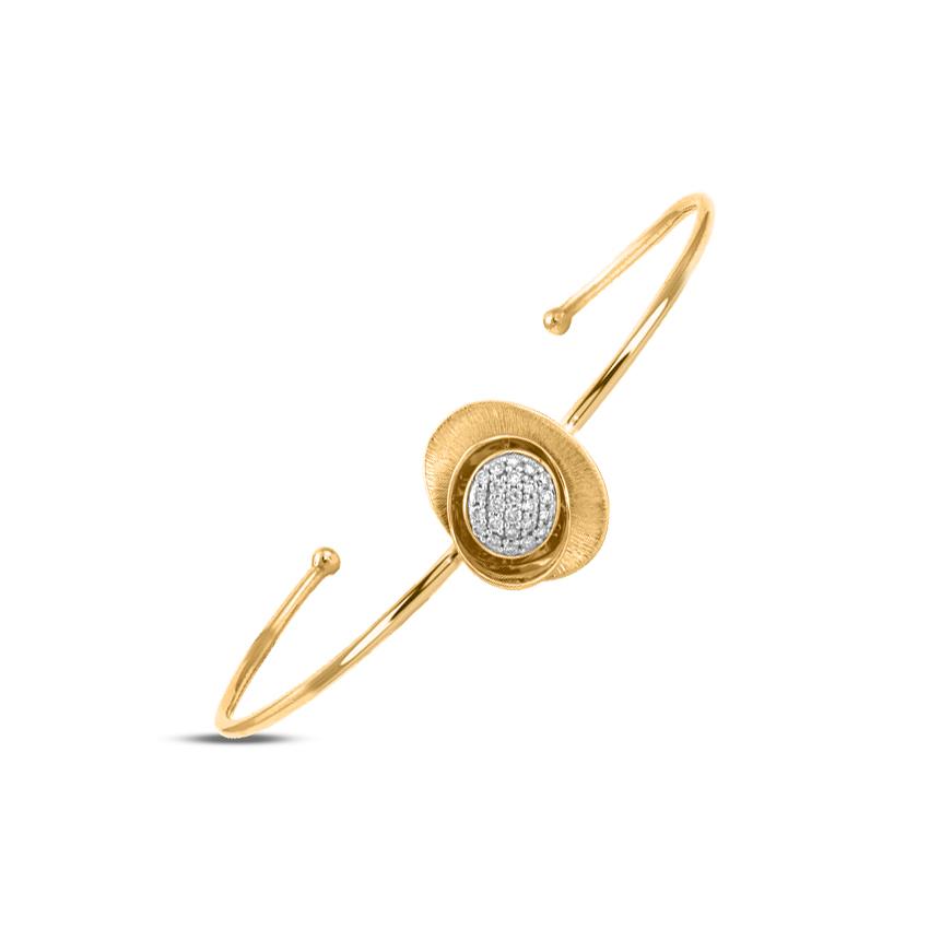 Diamond Bracelets 18 Karat Yellow Gold Swirl Cluster Diamond Bracelet