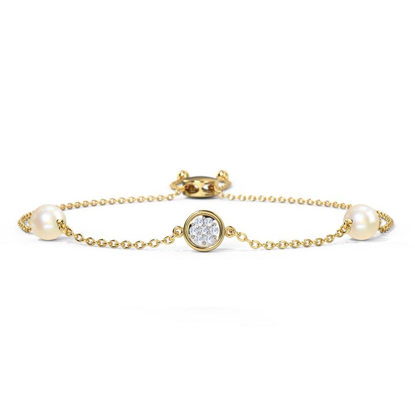 Diamond,Gemstone Bracelets 14 Karat Yellow Gold Shimmering Cluster Adjustable Bracelet