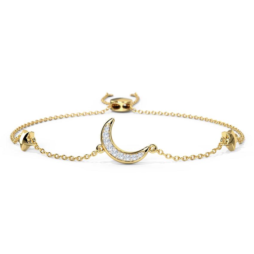 Diamond Bracelets 14 Karat Yellow Gold Moonshine Diamond Adjustable Bracelet