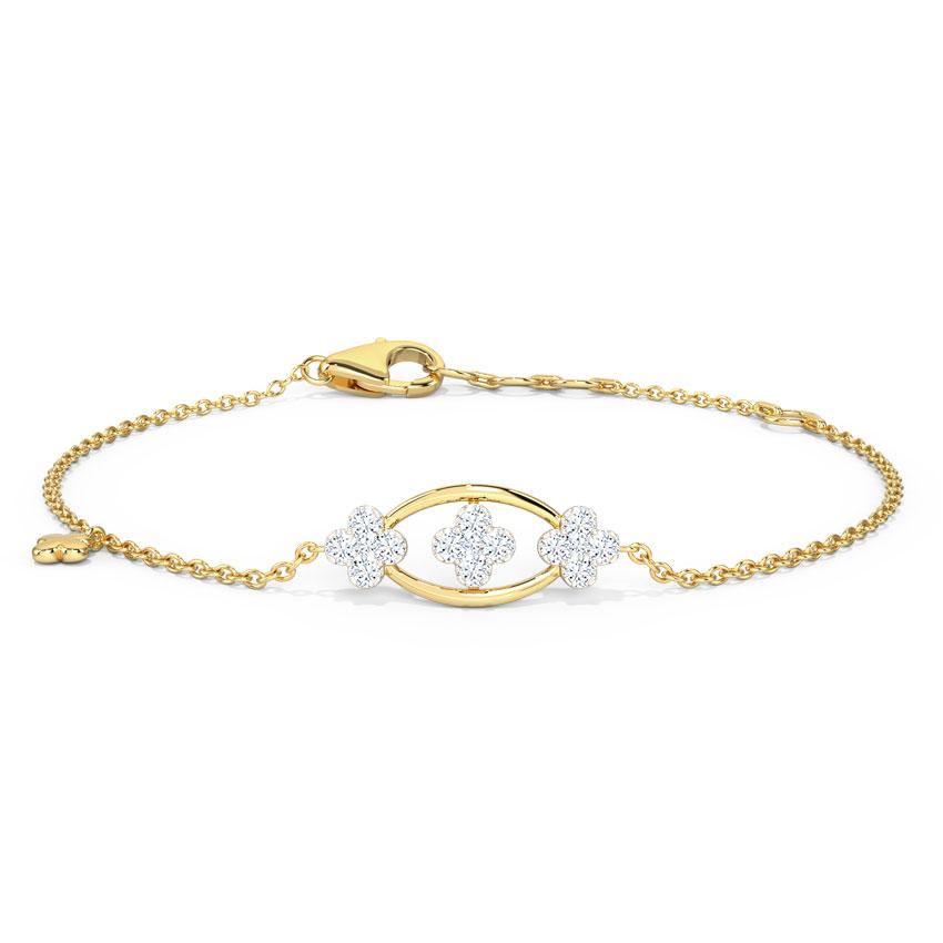 Diamond Bracelets 14 Karat Yellow Gold Trio Clover Diamond Bracelet
