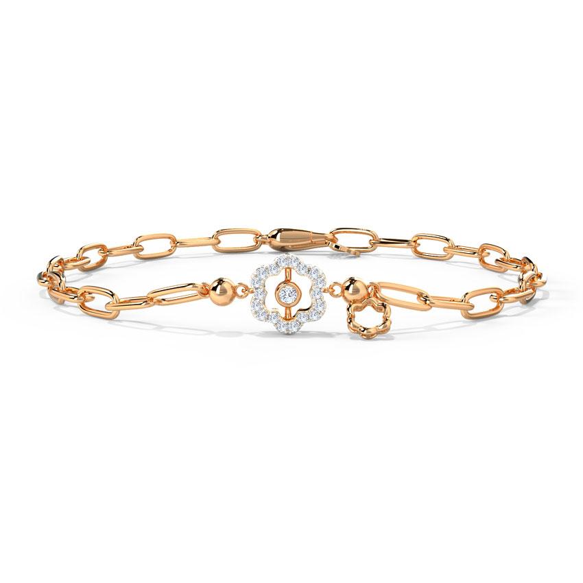 Diamond Bracelets 14 Karat Rose Gold Sparkle Floret Diamond Bracelet