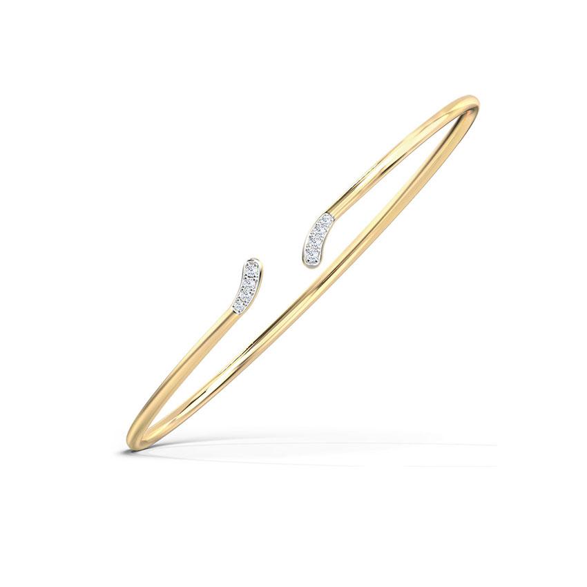 Diamond Bracelets 14 Karat Yellow Gold Curvature Diamond Bracelet
