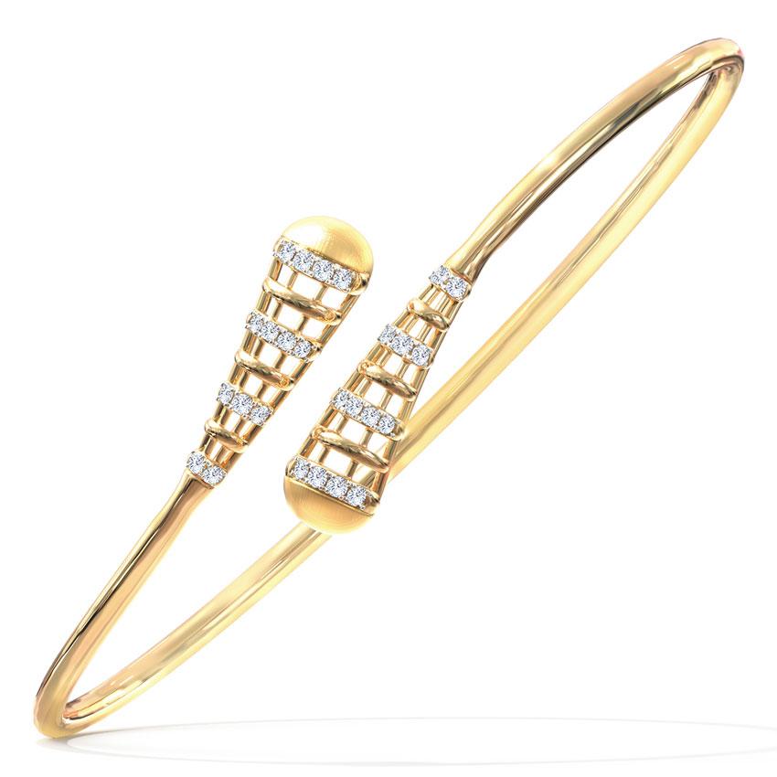 Diamond Bracelets 14 Karat Yellow Gold Victoria Deco Diamond Bracelet
