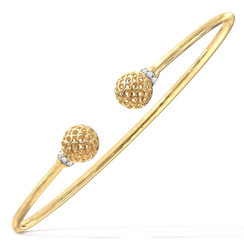 Diamond Bracelets 14 Karat Yellow Gold Orb Lattice Diamond Bracelet